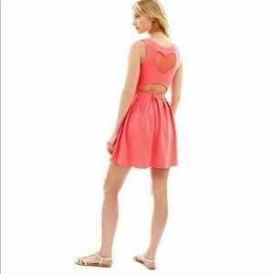 🆕L'Amour Nanette Lepore Hot Pink Heart Back Dress
